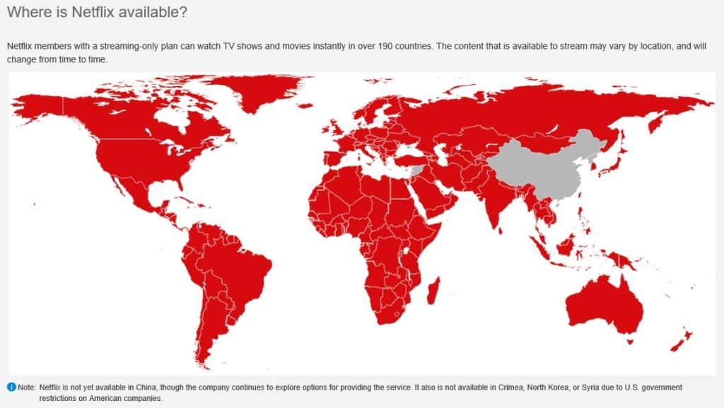 A map showing where Netflix is available.