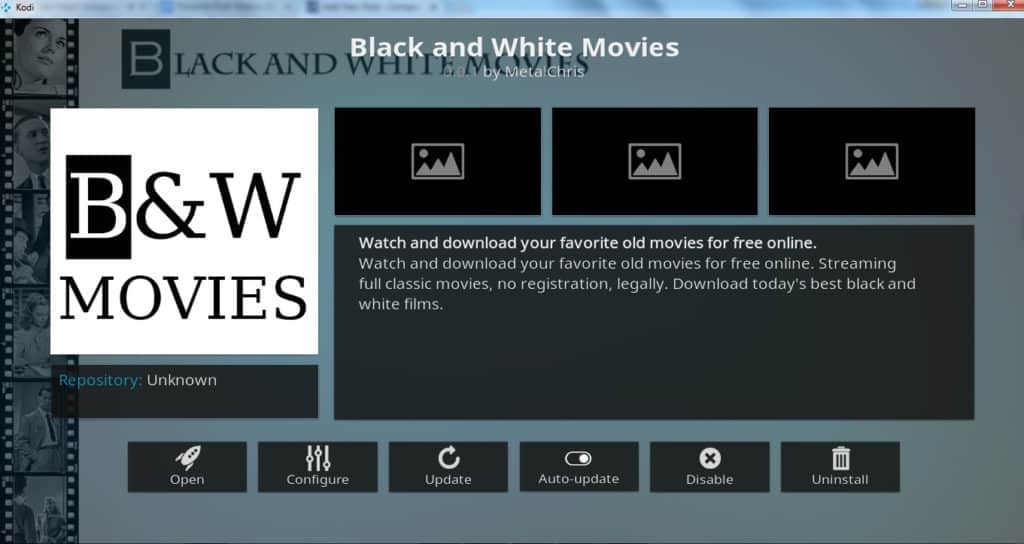 Black and White movies Kodi addon