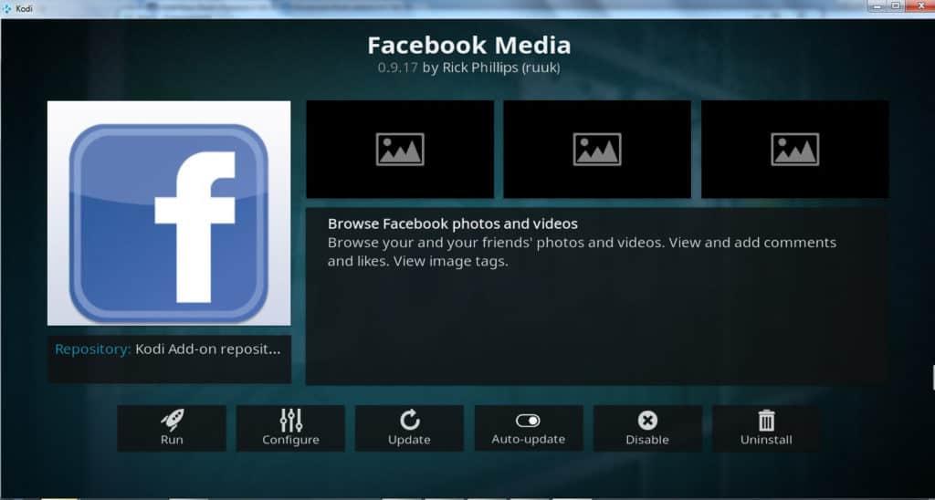 Facebook kodi addon