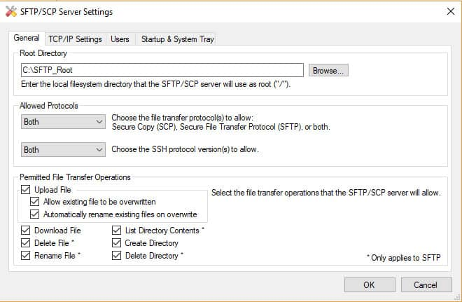 SFTP/SCP Server settings