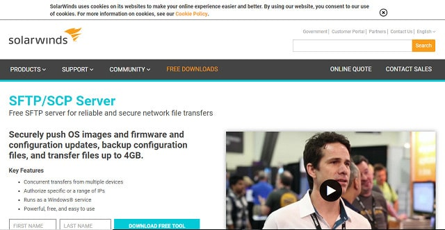 The SolarWinds SFTP Server website screenshot