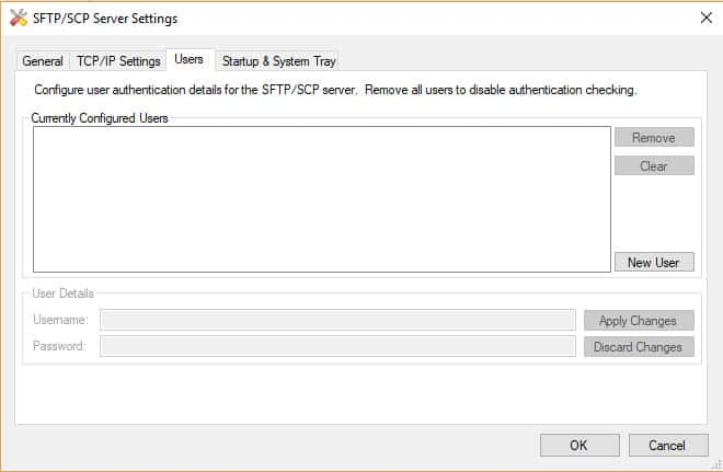SFTP Server user settings