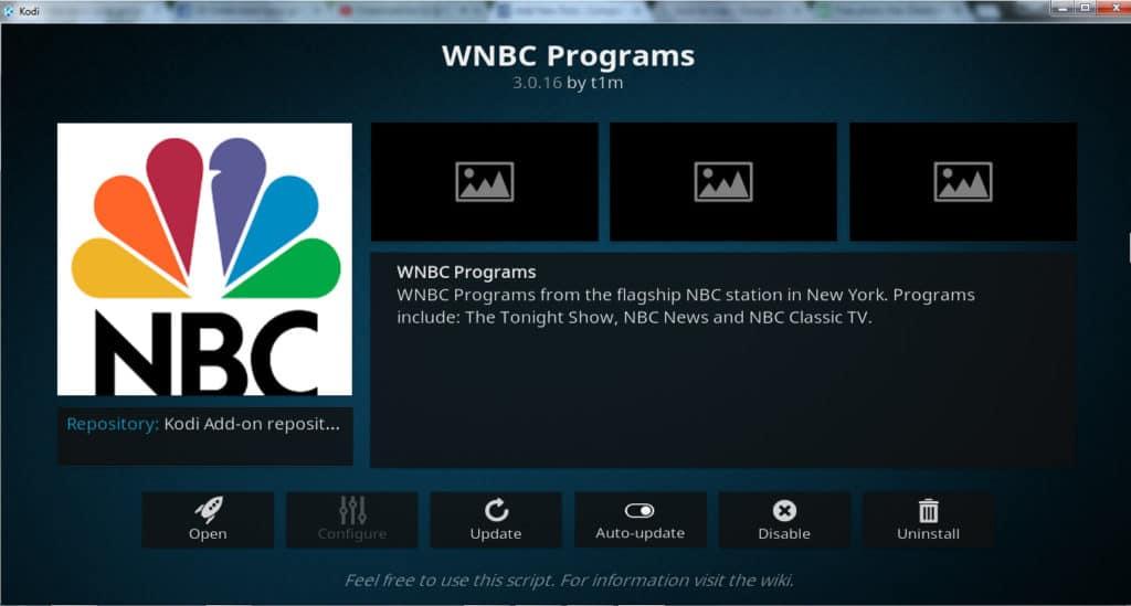 WNBC programs Kodi addon