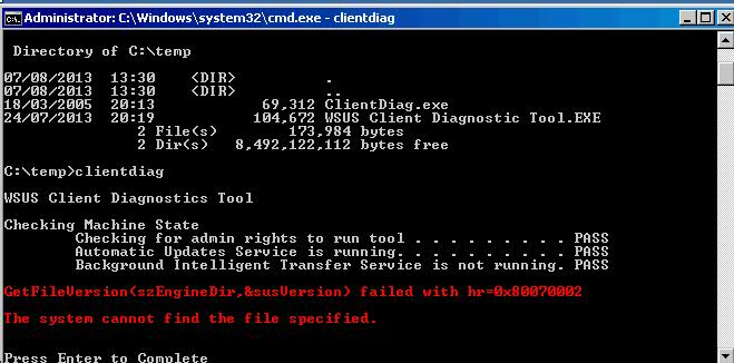 WSUS Client Diagnostic Tool