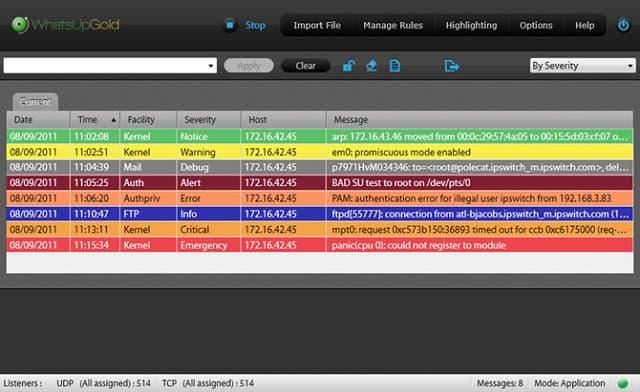 WhatsUp Syslog Server screenshot