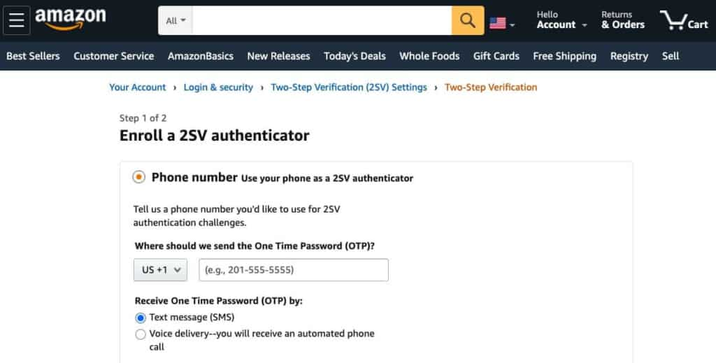 Amazon's 2SV settings.