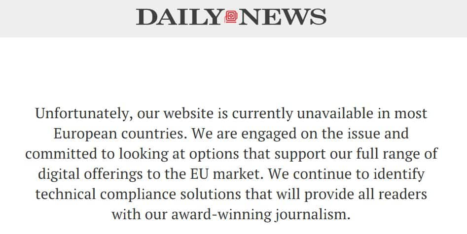 The New York Daily News' GDPR error message.