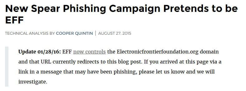 An update on the EFF blog post regarding the spear phishing domain.