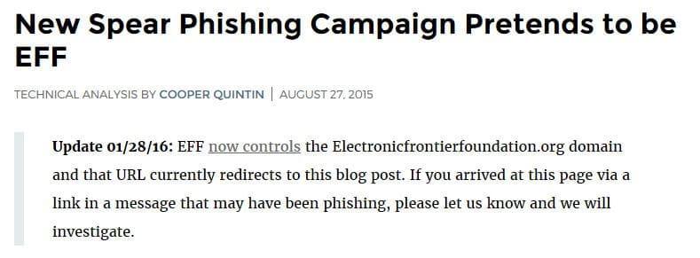 An update on the EFF blog post regarding the spear phishing domain.