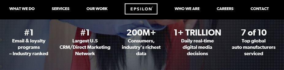 A section of the Epsilon homepage.