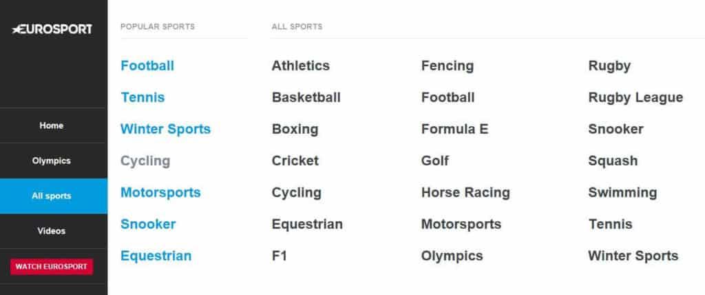 Sports available on Eurosport.