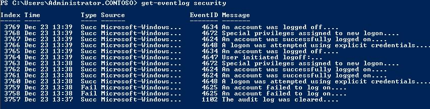 get eventlog security cmdlet