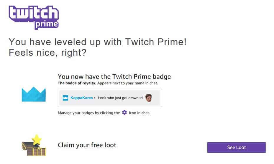 Twitch Prime confirmation page.