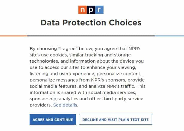 NPR's GDPR notice.