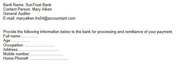 A section of a general phishing email requesting personal information.
