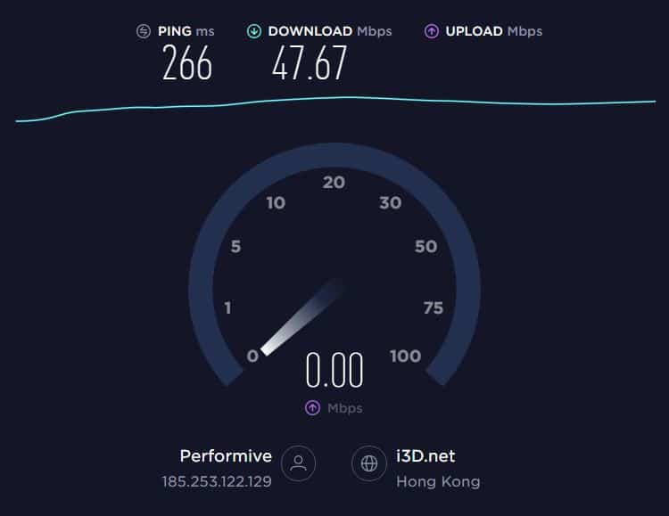 Hotspot Shield speed test.