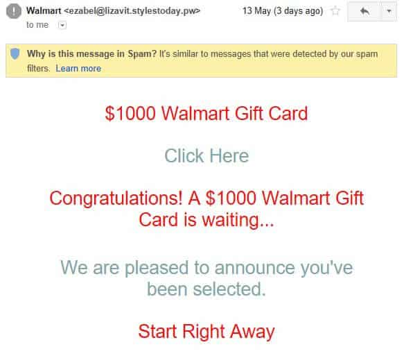 A fake Walmart email containing a phishing link.