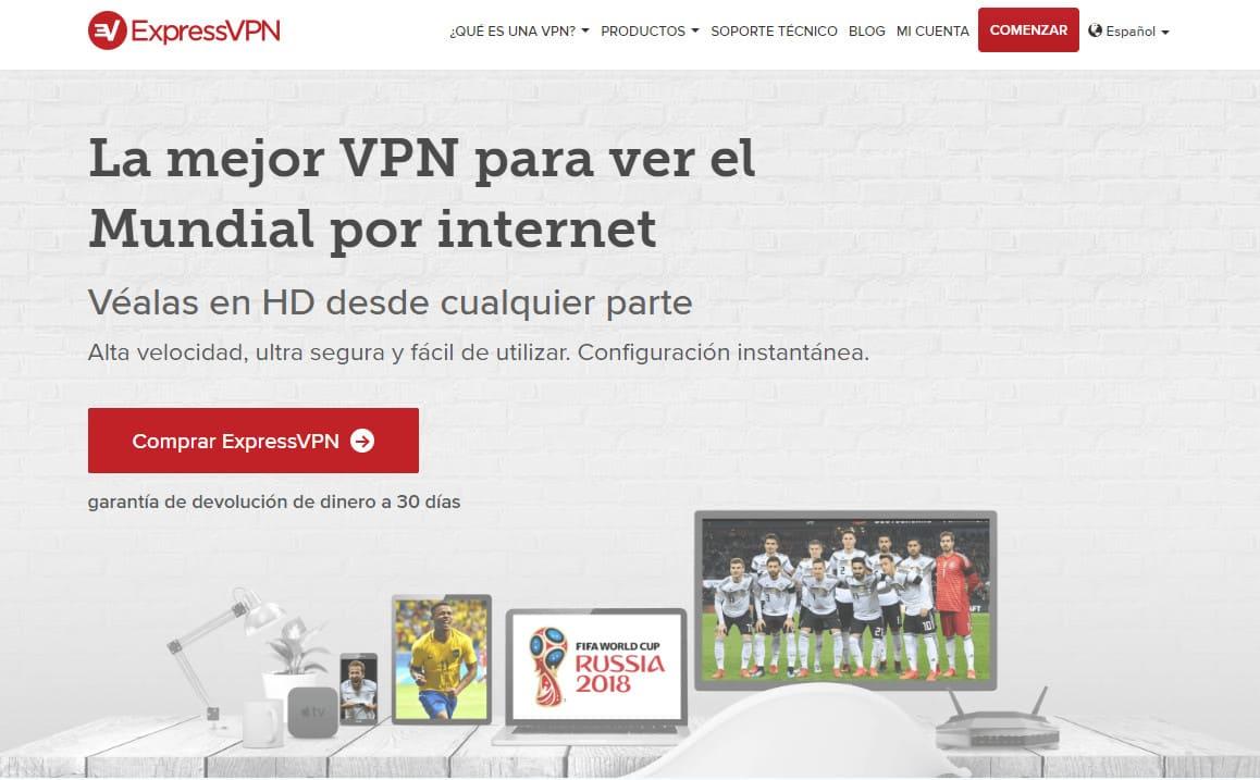 ExpressVPN Spanish world cup page