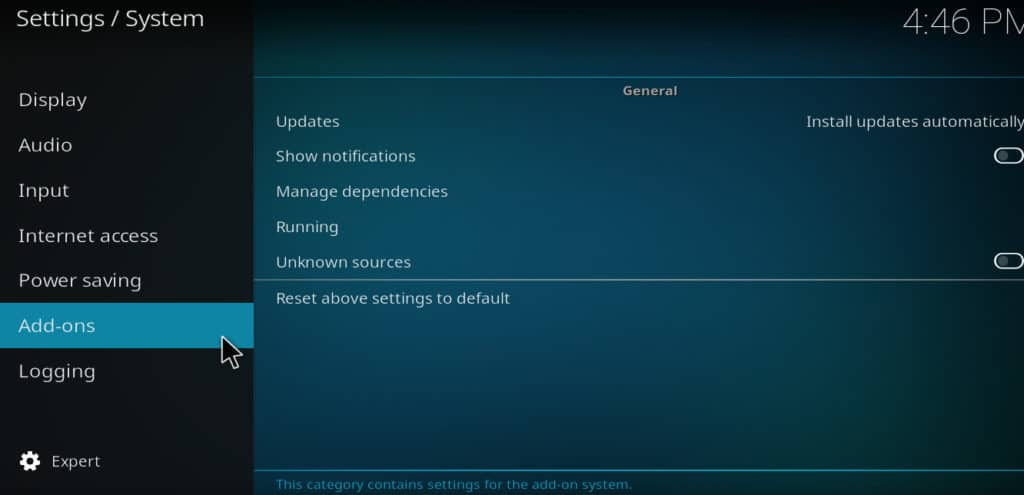 Kodi system settings addons