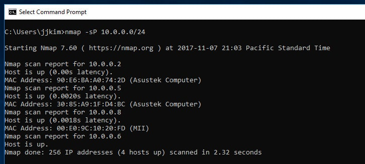 Screenshot showing nmap reporting on what hosts it has found