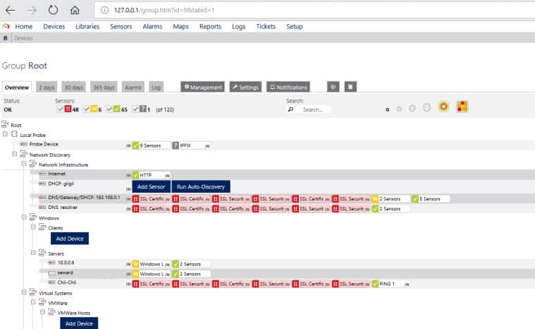 Screenshot of PRTG showing device tree and sensors associated with each device