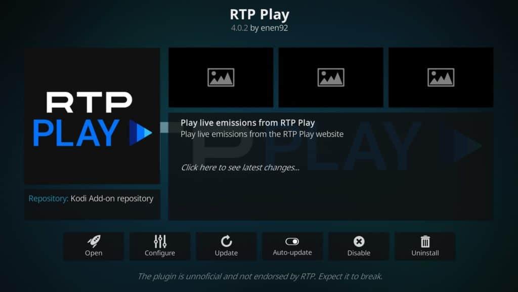 RTP Play Kodi addon