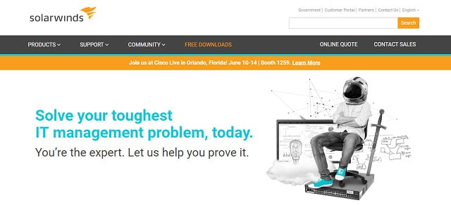 SolarWinds website