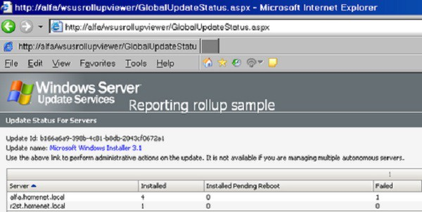 WSUS Reporting Rollup Sample Tool