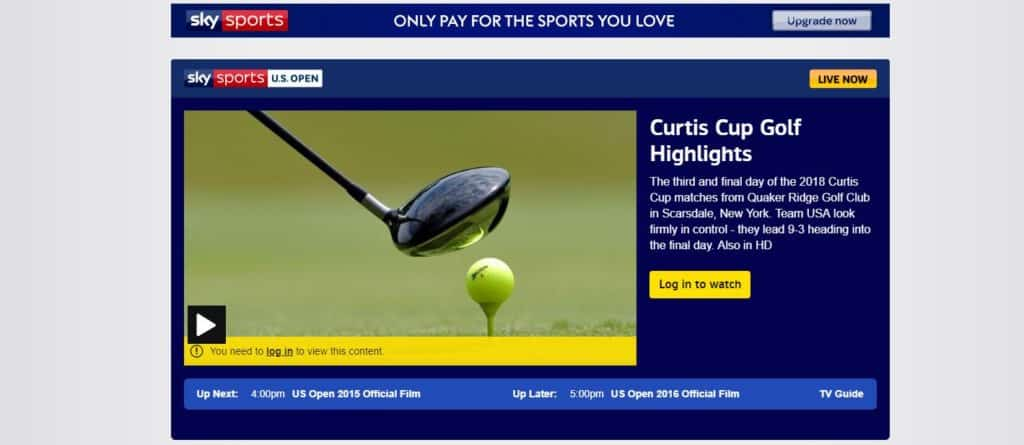 Watch US Open on Sky Sports