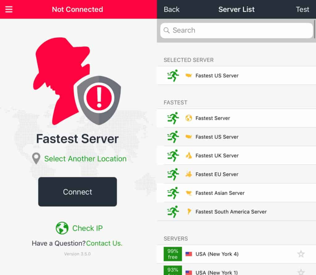 Mobile app main screen and Server List.