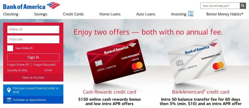 The Bank of America login page.