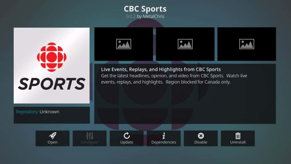 best kodi addons cbc sports