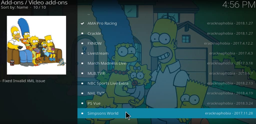 choose simpsons world kodi addon