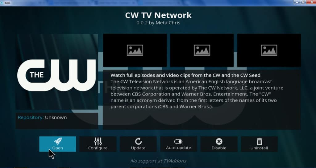 cw tv network kodi addon