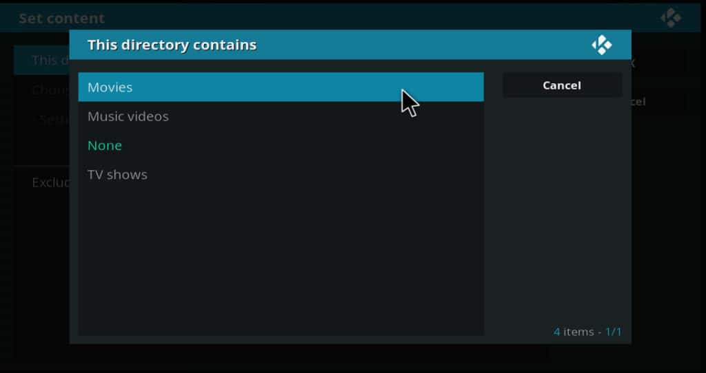 kodi this directory contains movies