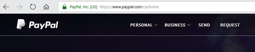 The PayPal wesbite marked with a padlock symbol and HTTPS.