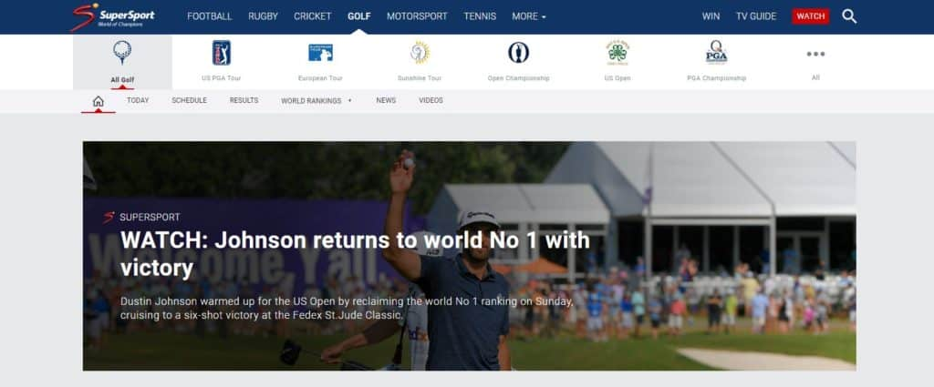 supersport US Open golf tournament