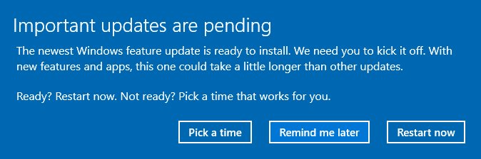 A Windows update notification.
