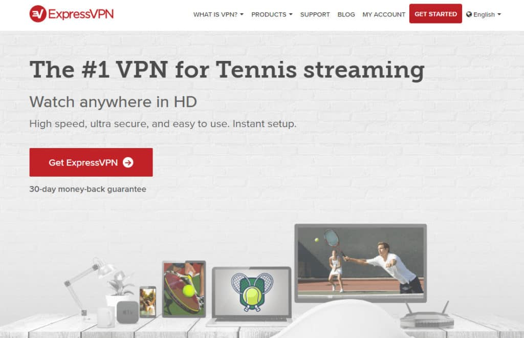 ExpressVPN streaming tennis