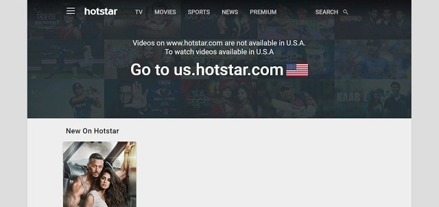 Try to get into Hotstar from America