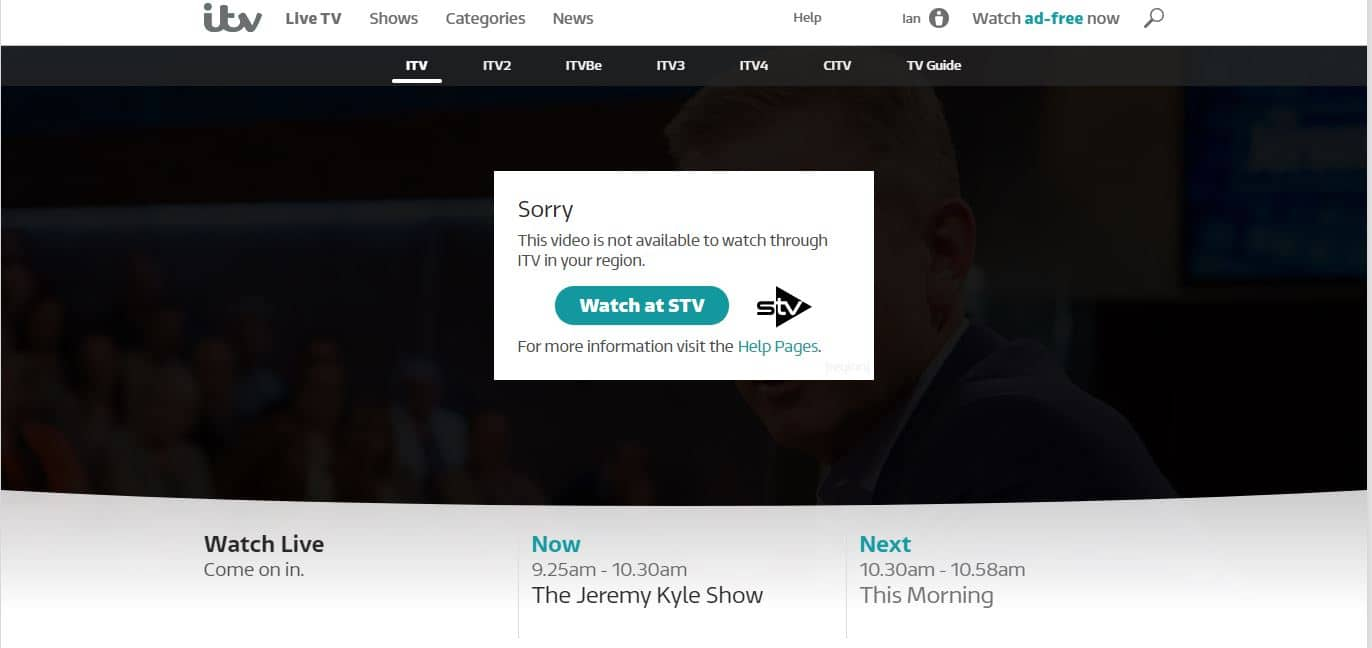 ITV Player error
