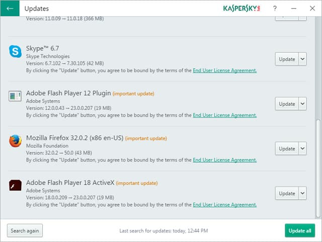 Kaspersky Software Updater - list screenshot