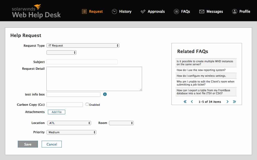 SolarWinds Web Help Desk free edition