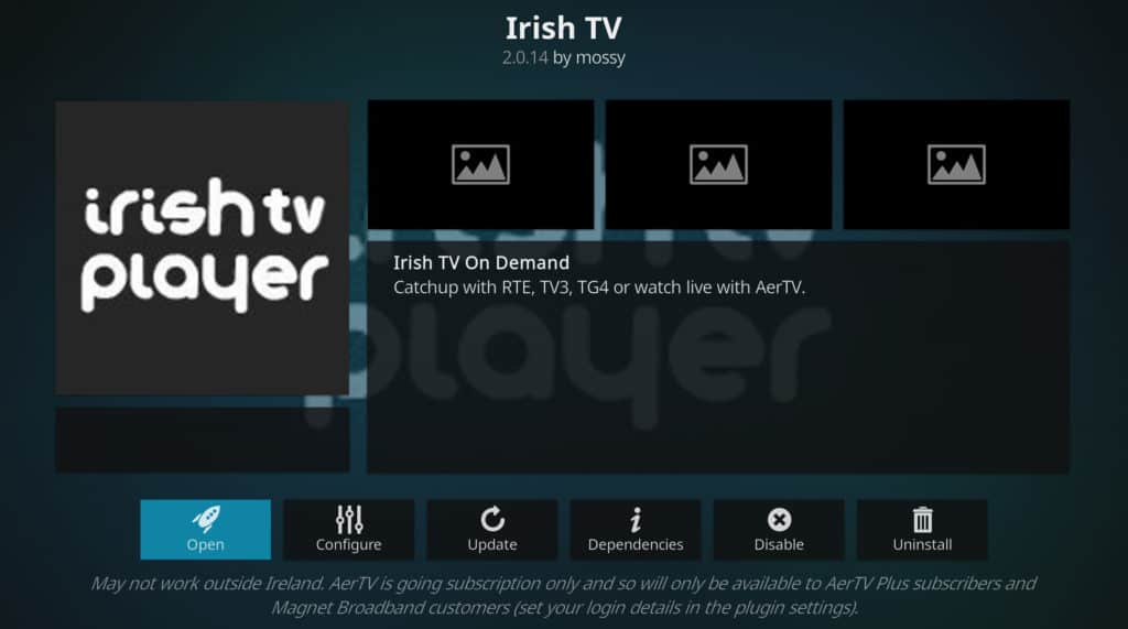 Irish TV player tour de france on kodi