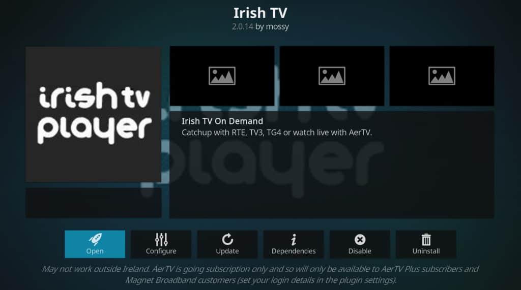 Irish TV player tour de france on kodi
