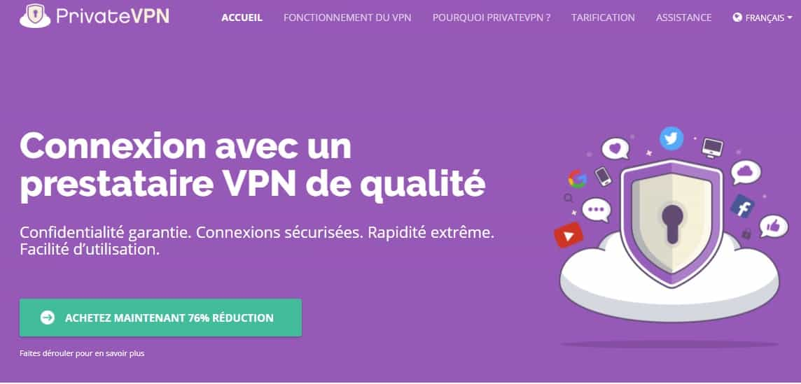 privateVPN french home page