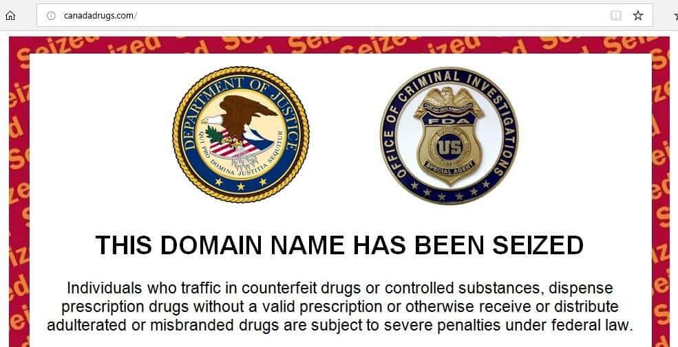 A domain seizure notice.
