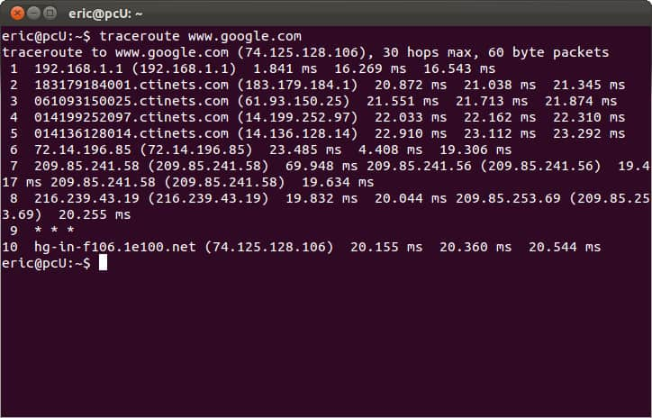 Linux CMD prompt - traceroute tracert