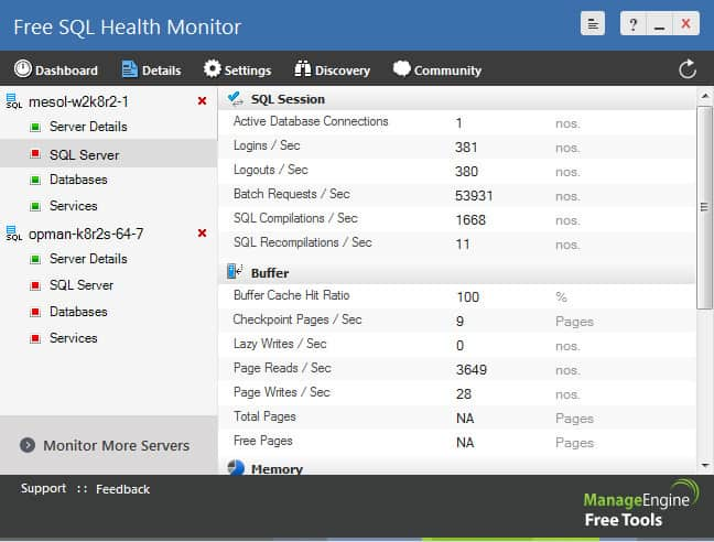 ManagEngine Free SQL Health Monitor