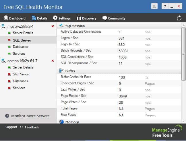 ManagEngine Free SQL Health Monitor